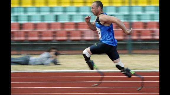 Pistorius competes in a 400-meter race in Berlin in June 2008.