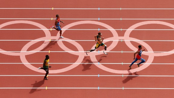 Pistorius races in the men's 400 meters during the 2012 Olympic Games in London.