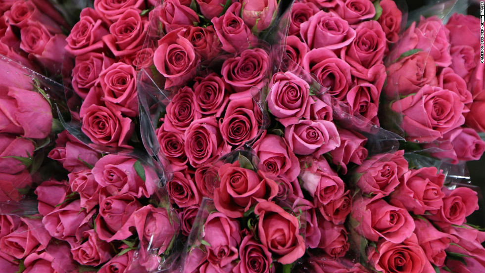 Roses are displayed on Valentine's Day at a flower market in Sydney.