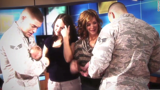 Reservists surprise wives on live TV