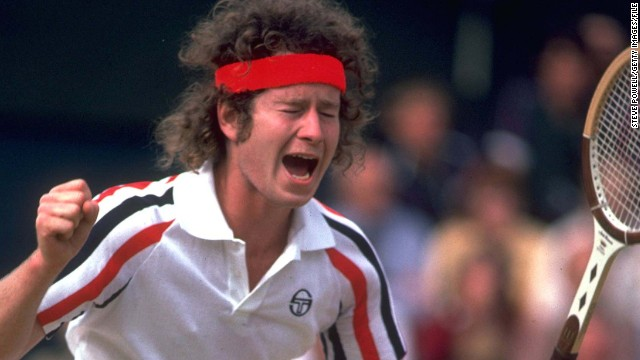 McEnroe enjoying a quiet moment of reflection during a game at the 1980 Wimbledon Championships.