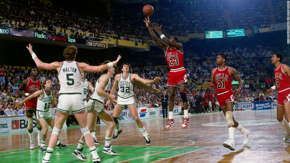 Jordan shoots a jump shot against the Boston Celtics in 1986.
