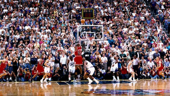 Jordan shoots the game winner against the Utah Jazz that gave the Bulls their sixth NBA title in 1998, with a final score of 87-86.