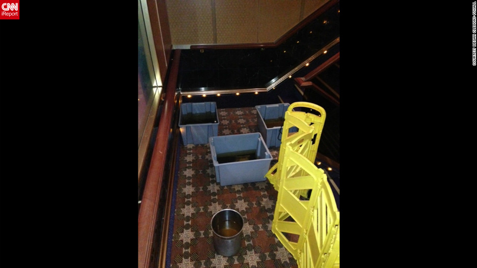 "According to passenger Megan Clemons-Foxall these ""buckets of sewage"" rest in stairwell aboard the ship."