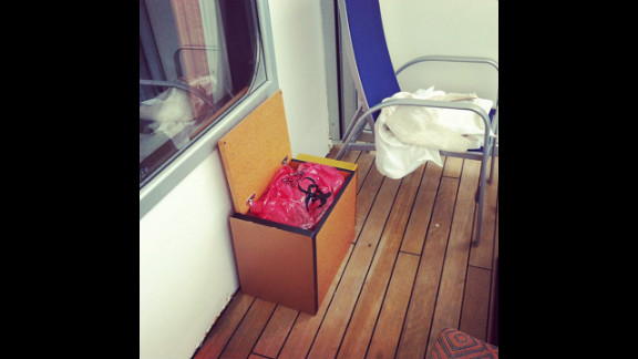 "Instagram user Jacob Combs shot this photo of his balcony on the ship with the caption, ""Excited for working toilets!"""