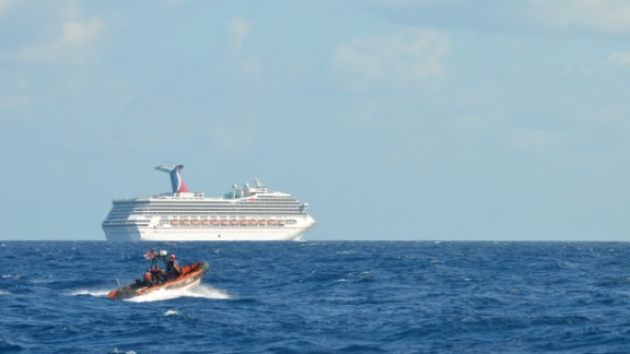 The cruise ship drifts in the Gulf of Mexico on Monday, February 11. The ship was carrying more than 3,200 passengers and nearly 1,100 crew members.