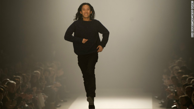 Alexander Wang greets the audience at the Mercedes-Benz fashion week February 9, 2013, in New York.