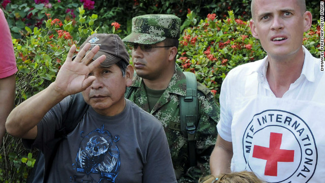One of five Geo Explorer employees released by Colombia's ELN rebels earlier in the week.