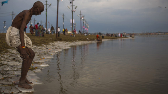 A Hindu man prepares to bathe in the Sangam on February 16.