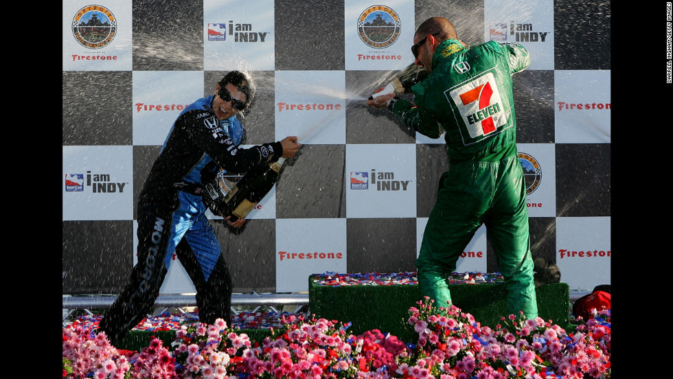 Tony Kanaan, right, and Patrick celebrate after placing first and second in the Detroit Indy Grand Prix in 2007 in Detroit.