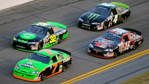Patrick in car No. 7 leads a group during the Lucas Oil Slick Mist 200 in 2010 in Daytona Beach, Florida.