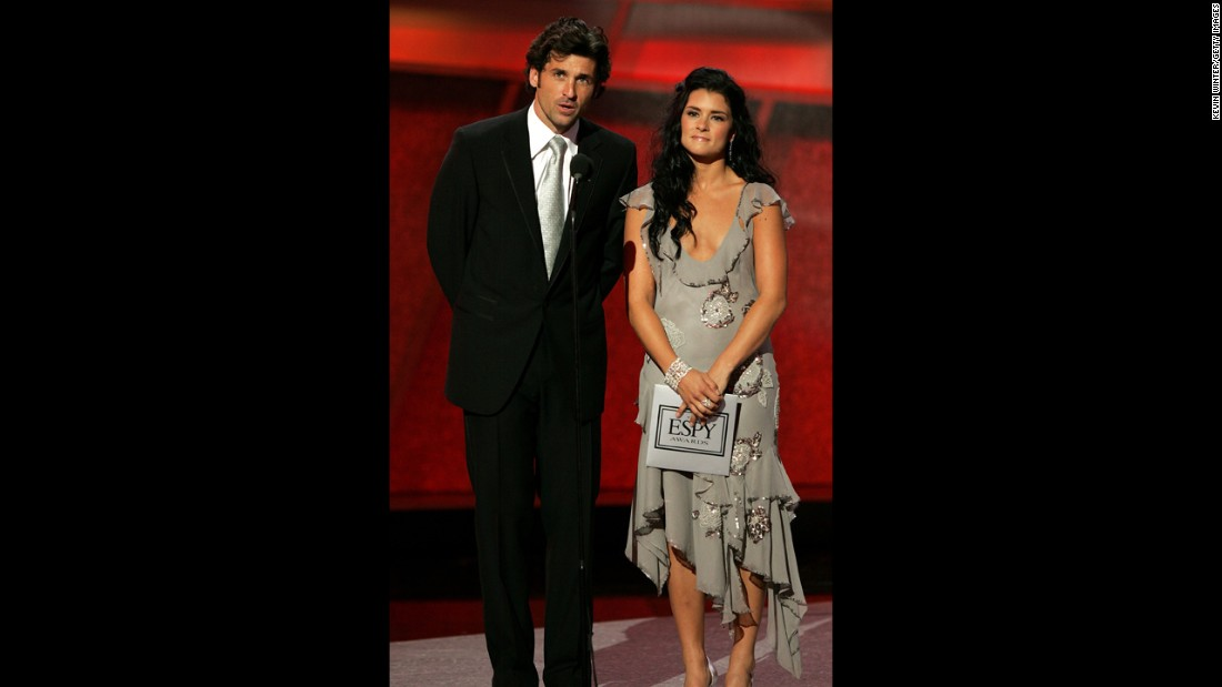 Patrick Dempsey and racing driver Danica Patrick present onstage at the 13th Annual ESPY Awards at the Kodak Theatre in 2005 in Hollywood.