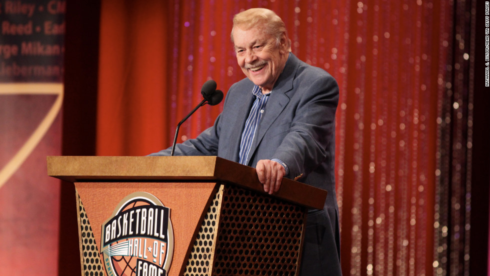 Buss was inducted in the Basketball Hall of Fame in 2010. Pictured, he speaks at the Class of 2010 induction ceremony in August of that year.