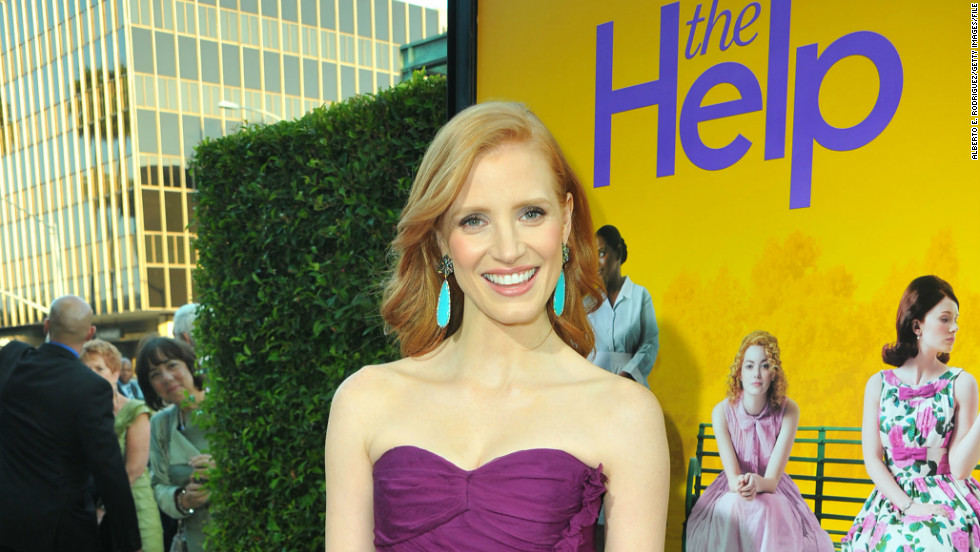 "Chastain, 35, received her first Academy Award nomination -- for best supporting actress -- for her role as Celia Foote in 2011's ""The Help."" Here, she attends the premiere in Beverly Hills in August 2011."