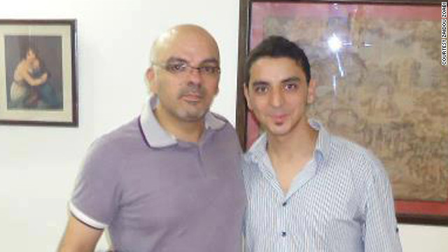 Released activist Zaidoun Zoabi, left, with his brother Soheib, who is still in a Syrian prison.