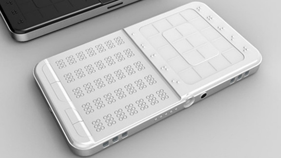 Shikun Sun's DrawBraille phone uses braille finger pads and a display screen with mechanically-raised dots to facilitate communication for the visually impaired.