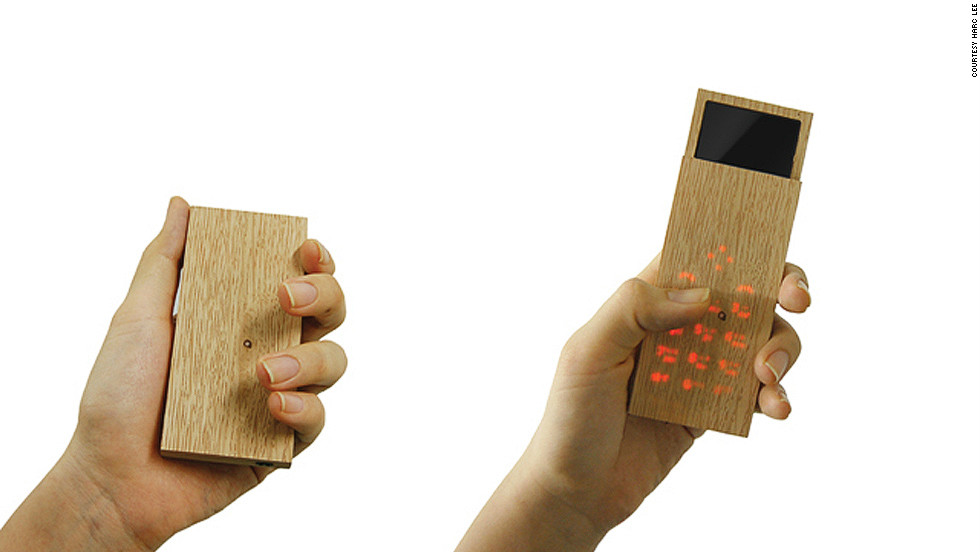 At first glance Ryan Harc's Maple Phone is nothing but a block of wood. But, sensitive to touch, it transforms into a sleek mobile phone with slide-out display, mp3 player and digital camera.