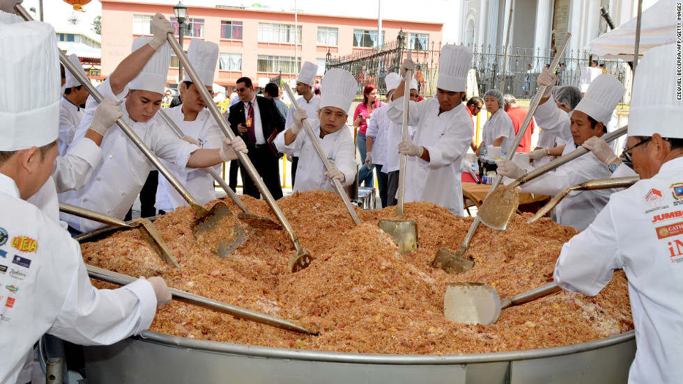 Chinese and Costa Rican chefs cook the world's largest pan of fried rice in celebration of Chinese New Year in San Jose, Costa Rica, on Tuesday, February 12.