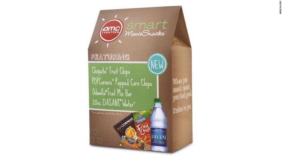 "<strong>Best use of real fruit: Smart MovieSnacks Bundle</strong><br />AMC offers a real-fruit option as part of their Smart MovieSnacks Bundle: For $7, you get a bag of Chiquita Fruit Chips -- a crunchy mix of dehydrated bananas, pineapples, and mangos for 110 calories and 20 grams of sugar -- along with bottled water, air-popped corn chips and an Odwalla trail mix bar.<br /><br />Cinemark Cinemas also offers several zero- or low-calorie items on its concessions menu, including a Dreyer's fruit bar, made with real chunks of frozen fruit, for just 80 calories and 19 grams of sugar. <br /><br /><a href=""http://www.health.com/health/gallery/0,,20307295,00.html?xid=cnn"" target=""_blank"">Health.com: 8 movie treats under 80 calories</a>"
