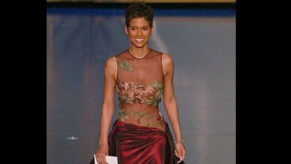 """Halle Berry was stunning in an embroidered Elie Saab gown in 2002 when she won an Oscar for her role in """"Monster's Ball,"""" becoming the first African-American woman to win best actress."""