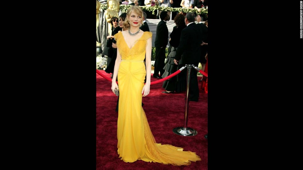 "In 2006, Michelle Williams was nominated for best actress in a supporting role for her performance in ""Brokeback Mountain."" She walked the red carpet wearing a yellow Vera Wang gown with her then-boyfriend, the late Heath Ledger."