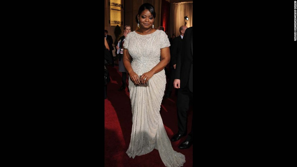 "Octavia Spencer wowed in a Tadashi Shoji gown at the 2012 Academy Awards, where she won an Oscar for her role in ""The Help."""