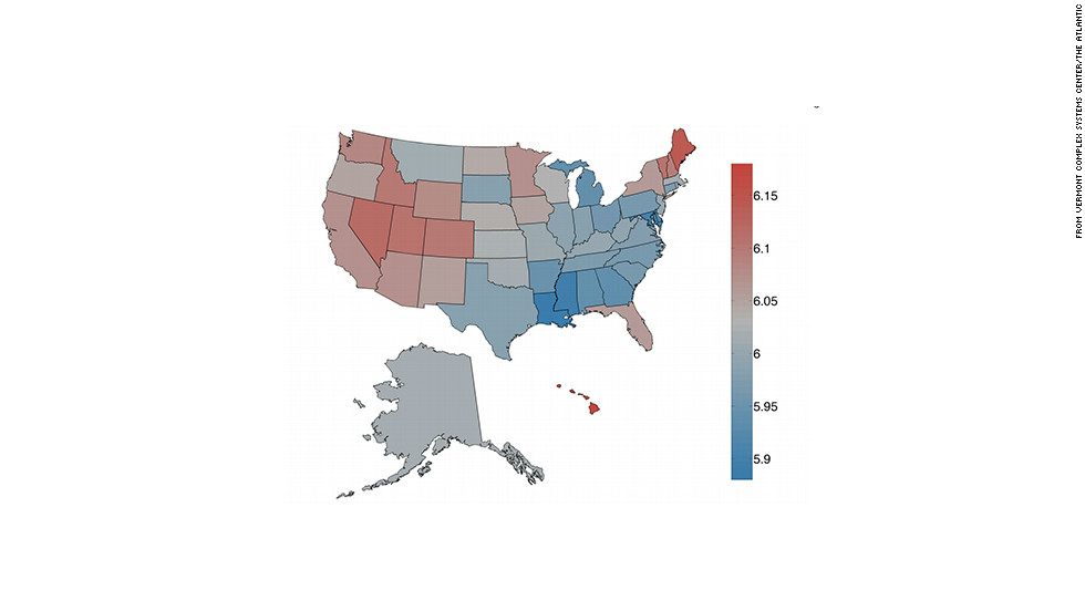 states in red have the highest average amount of happy tweets states in blue states