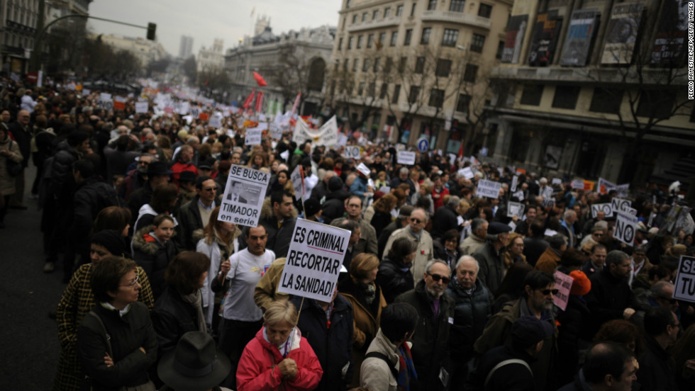 Protesters take part in a demonstration against plans to cut medical spending and privatize hospital services in Madrid of February 17.