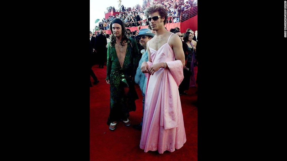 """South Park"" creators Trey Parker, left, and Matt Stone showed up at the 2000 awards show dressed as Jennifer Lopez at the 42nd Grammy Award and Gwyneth Paltrow at the 1999 Oscars. The men eventually <a href=""http://www.washingtonpost.com/blogs/celebritology/post/matt-stone-and-trey-parker-were-on-drugs-when-they-wore-dresses-to-the-oscars-video/2011/09/30/gIQA2h4iAL_blog.html"" target=""_blank"">told Jimmy Kimmel</a> that they were on acid while walking the red carpet."