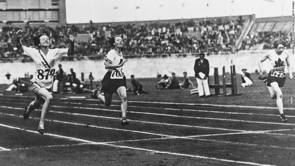 Betty Robinson, left, wins the women's 100-meter final during the Olympic Games in Amsterdam on July 31, 1928. It was the first time the Olympics included athletic events for women, making her the first woman to win gold.