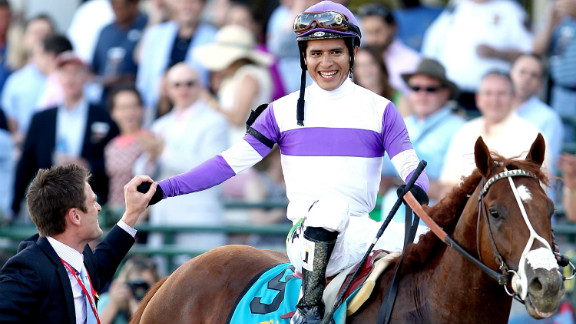 Mexico's Mario Gutierrez celebrates after winning the 2012 Kentucky Derby. Nine of the top-10 highest earning jockeys today are from Latin American countries.