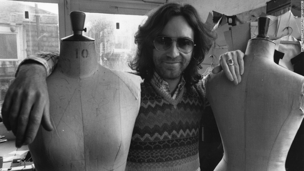 English fashion designer Ossie Clark (pictured here in 1972), spent the 1960s and '70s outfitting rock stars and celebrities like Mick and Bianca Jagger and Elizabeth Taylor. He was found murdered in 1996, stabbed to death by an ex-lover.