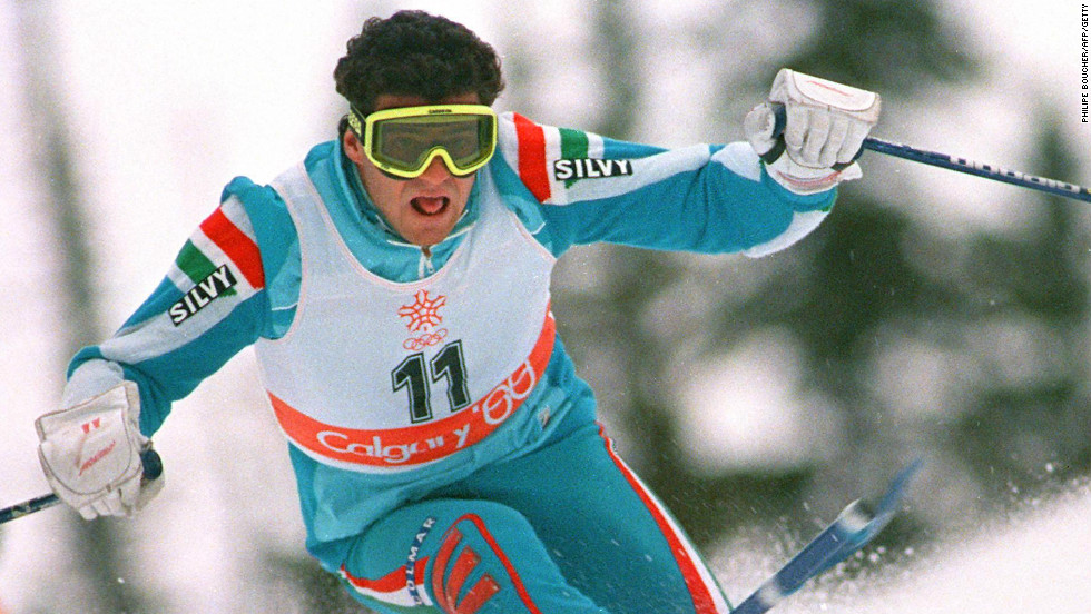 Tomba on his way to gold at the 1988 Winter Olympics in Calgary, where he won the slalom and giant slalom crowns.