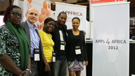 The Apps4Africa team (L-R): Mariéme Jamme, Thomas Genton, Barbara Birungi, Jon Gosier and Bahiyah Yasmeen Robinson.