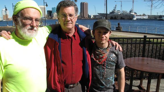 Bounty survivors Doug Faunt, from left, Chris Barksdale and Josh Scornavacchi reunite at Coast Guard hearings in 2013.