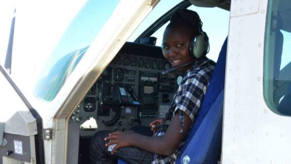 """Richard says he wants to work in aviation when he grows up. """"Three years ago when I was in the savannah herding my father's cattle I used to see the planes flying over and landing at the airport and I was like, one day I'll be a pilot and an aircraft engineer,"""" he says."""