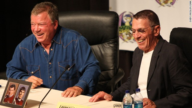 "William Shatner, at left with Leonard Nimoy at Atlanta's Dragon Con in 2009, wished his ""Star Trek"" castmate well."
