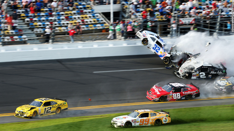 Injuries as debris flies into Daytona stands during fiery NASCAR ...