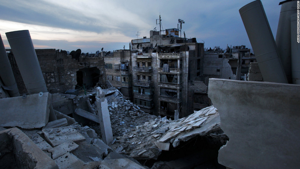 Damaged houses in Aleppo are seen after an airstrike on November 29, 2012.