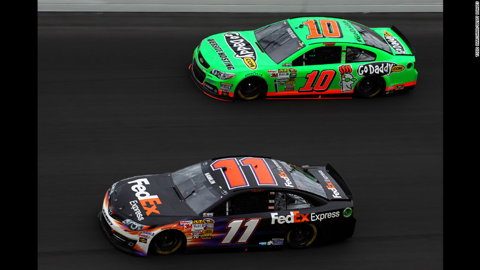 No. 11 Denny Hamlin leads Danica Patrick on Sunday. Patrick, who started out the race in front, entered the final lap in third place but got boxed in and ended up in eighth place.