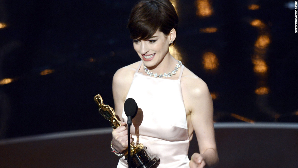 "<strong>Anne Hathaway, best supporting actress:</strong> As Anne Hathaway accepted her first Oscar win for her work in ""Les Miserables,"" the 30-year-old actress looked down at her statue and said, ""It came true."" After thanking everyone from her friends and family to the cast and crew of ""Les Mis,"" Hathaway was also sure to thank her husband. ""By far the greatest moment of my life was when you walked into it."""