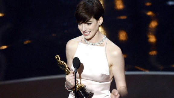 "Anne Hathaway, best supporting actress: As Anne Hathaway accepted her first Oscar win for her work in ""Les Miserables,"" the 30-year-old actress looked down at her statue and said, ""It came true."" After thanking everyone from her friends and family to the cast and crew of ""Les Mis,"" Hathaway was also sure to thank her husband. ""By far the greatest moment of my life was when you walked into it."""