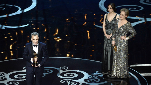 "Daniel Day-Lewis, best actor: Everyone knew Day-Lewis was going to take this prize, but that didn't stop the actor from looking utterly overcome with emotion as he claimed his honor. ""I really don't know how any of this happened. I do know that I've received more than my fair share of fortune,"" he said. He made sure to thank three men at the ""apex of that human pyramid"" that created ""Lincoln:"" Tony Kushner, Steven Spielberg and the ""mysteriously beautiful mind, body and spirit of Abraham Lincoln."""