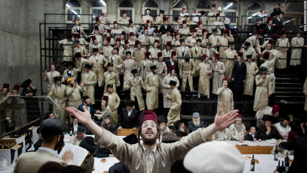Ultra-Orthodox Jews from the Lelov Hasidic sect, celebrate the Jewish festival of Purim on February in Beit Shemesh, Israel.