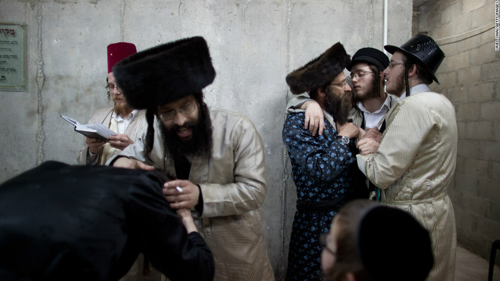 Ultra-Orthodox Jews from the Lelov Hasidic sect, celebrate in Beit Shemesh, Israel. Purim commemorates the deliverance of the Jewish people from a plot to exterminate them in the ancient Persian empire 2,500 years ago.