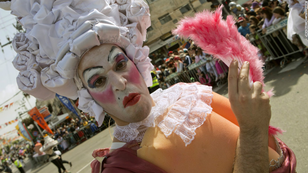 An Israeli man takes part in a parade in the central Israeli city of Netanya on February 24, 2013.