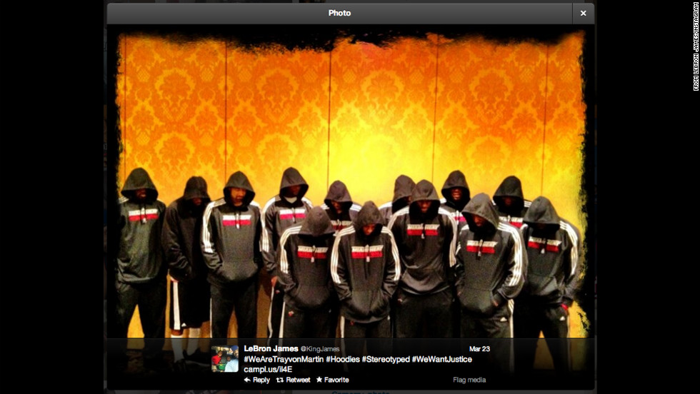In 2012 members of the Miami Heat -- led by LeBron James, Dwyane Wade and Chris Bosh -- posed in hoodies in solidarity with slain Florida teenager Trayvon Martin.