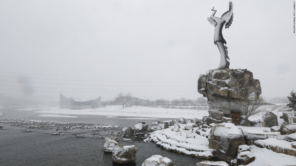 "The ""Keeper of the Plains"" statue is blanketed with snow in Wichita, Kansas, on February 25."