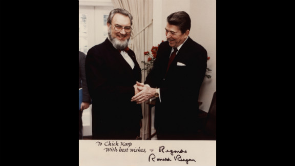 """A photograph signed by President Reagan contains the inscription """"To Chick Koop, With Best Wishes."""" Chick, from chicken coop, was the nickname Koop earned while attending Dartmouth College in the mid-1930s. Koop maintained a cordial relationship with Reagan despite his disappointment over Reagan's refusal to address the growing AIDS epidemic."""
