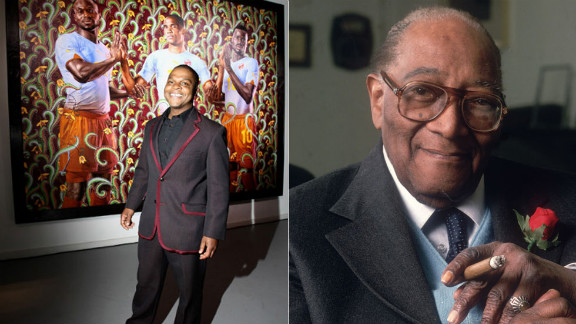 Harlem Renaissance photographer James Van Der Zee, right, was famous for the artistic vision he employed through photographs of everyday African-American life in New York. He developed double exposure techniques and a method of editing photograph negatives that lent a spirit of glamor and perfection to his portraits of New York's emerging black middle class. New York artist Kehinde Wiley continues to represent African-Americans in formal and dignified ways. He is known for painting photorealistic urban subjects within the environments of historic, heroic paintings, blurring the lines between traditional and contemporary sensibilities.